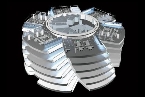 Six spiralling lightwells divide each floor into six rectangular office areas encircling the central core.